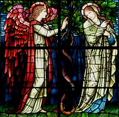 Winchester Cathedral, Burne Jones, The Annunciation (jacquemart) Tags: christmas victorian stainedglass winchester preraphaelite winchestercathedral burnejones theannunciation