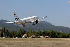 It' s flying high... (GeorgeKats) Tags: sky travelling airplane outdoors airport airshow transportation airbus a320 tatoi aegeamairlines athensflyingweek2014