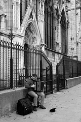 Accordion player outside Notre-Dame cathedral in Paris (justindperkins) Tags: blackandwhite music paris france mono cathedral accordion notredame