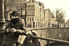 Girl (valeria.tomasi) Tags: travel bridge girl look amsterdam buildings river fiume ponte sguardo traveling glance viaggio ragazza palazzi