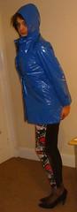 blue PVC mac, patterned leggings (charlotteyorkscd) Tags: cute sexy tv mac cd blueeyes makeup transvestite mascara lipstick brunette eyeshadow raincoat crossdresser pvc leggings eyeliner pinklipstick pvcraincoat pvcmac shinyleggings wetlookleggings