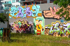 Mick's Split (See El Photo) Tags: street city blue urban 15fav favorite plants streetart color colour building green art grass wall kids digital canon cards outside outdoors eos rebel grey graffiti weeds colorful aqua colore different purple florida grafiti miami graf peach ivy urbanart odd fl spraypaint fav graff couleur treestump feild grafite faved seeelphoto artedelacalle garbagepalekids t1i