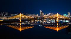 The River's Mood Light (Ben McLeod) Tags: longexposure bridge test night oregon river portland lights unitedstates trimet willametteriver autoban tilikumcrossing aestheticlighting