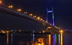 Second Hooghly Bridge (Anirban.243) Tags: city water night canon joy hdr calcutta ganges brifge cs5