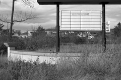 """indoor pool and fundome"" (Summ....) Tags: bw abandoned sign swimmingpool 2014 hotelmotel g160455 explored102214"