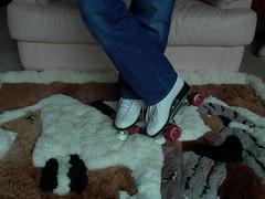 Roller Skates on Alpaca Rug (Uggling) Tags: classic feet alpaca animal vintage fur shoes skating llama rollerderby rollerskates quad dirty skate roller rug sole derby skates sheepskin trample trampling sheepskinrug animalskin furrug animalrug furryrug animalskinrug skinrug softrug alpacarug llamarug