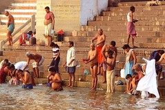 india (gerben more) Tags: shirtless people india stairs laundry varanasi ritual bathing ganga ganges benares ghat