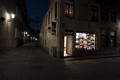 Bruges Shop at Night (George_450D) Tags: street summer black window shop night dark lights europe time bruges cobbles 2014