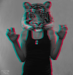 Unleash the beast (CarolinakokkP) Tags: blue red bw selfportrait me animal 3d tiger rawr beast selfi