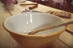 Mixing bowl. (Becca Swift) Tags: kitchen wooden worktop spoon bowl unused