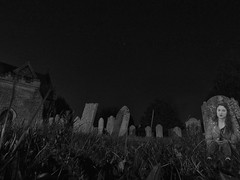 I went to the graveyard last night... (And Smith) Tags: blackandwhite ghost fake spooky fujifilmhs50exr