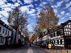 #Hennef #cityscape (RenateEurope) Tags: autumn trees germany skyscape cityscape nrw 2014 hennef iphoneography strickaktion knittingfortrees buntbaum