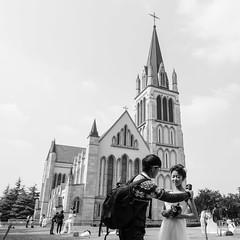 Position (kevinschoenmakers) Tags: street travel wedding portrait blackandwhite bw woman english church girl monochrome lady square asian photography bride town asia village shanghai fake neighborhood catholicchurch british bridal neighbourhood shanghainese songjiang thamestown