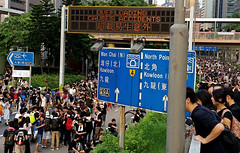 Overloading Causes Accidents (cowyeow) Tags: china street city bridge people signs news students sign asian hongkong democracy student funny asia accident streetsign political politics crowd central chinese protest overpass accidents  trafficsign dissent overload overloading occupy hongkongprotest umbrellamovement occupyhongkong occupycentral hongkongprotests