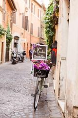 A roman bike (ninasclicks) Tags: bicycle bike rome roma street travel flowers urban cobblestone italy