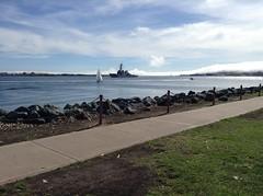Warship entering San Diego harbor (Greying_Geezer) Tags: 2017 shelterisland sandiego california