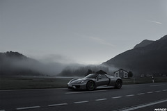 Morning light and a 918 (Iceman_Mark) Tags: porsche 918 silver grey design michael mauer 46litre naturally aspirated v8 hybrid supercar hypercar michelin pilot sport cup2 september autumn silvaplana surlej engadin graubünden switzerland alps