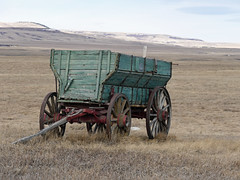 Old times remembered (annkelliott) Tags: alberta canada swofcalgary swofnanton nature landscape scenery valley field hills grassland bare dry grass lackofsnow wagon old weathered green wooden atentrancetoaranch outdoor winter 20february2017 fz1000 panasonic lumix annkelliott anneelliott ©anneelliott2017 ©allrightsreserved