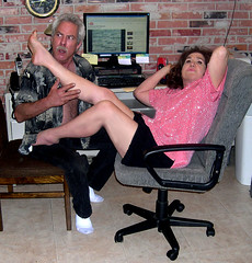 Me and my boy toy (Sugarbarre2) Tags: wife mom mother granny old short mini skirt black red pink party fun comedy high arches feet bare naked long hair photography pv home mature love legs hot cool nikon s show flash upskirt toes dirt light ass suck lick