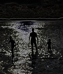 glowing edges at the beach (conall..) Tags: manipulated manipulatedimage photoshop elements 15 messing abstract weird glowing edges beach silhouettes donegall summer sun sea reflection