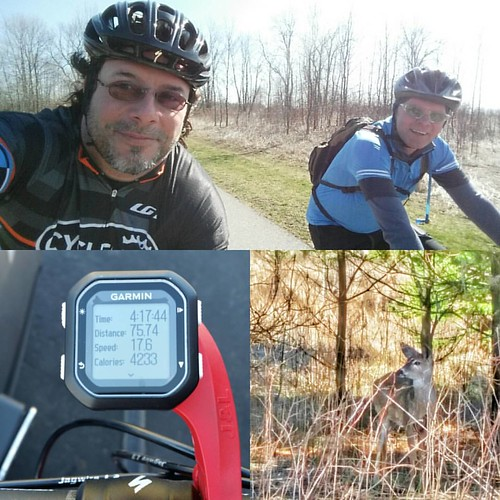 Perfect Easter Friday morning. First ride with bare legs!! It's getting warmer 😄😄😍😍😆😆  Lots of people using the trails, including Tim Thorington, Mr. Fuji now 😀😀👍👍:cam