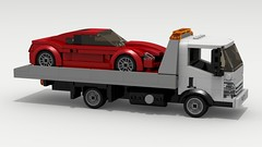 Isuzu N-Series Tow Truck and Mustang (LegoGuyTom) Tags: isuzu classic vintage japanese japan truck trucks car cars cab over 2000s 2010s dump dumptruck pov povray power lego legos ldd digital designer city chevy chevrolet dropbox download lxf towing tow mustang muscle cargo