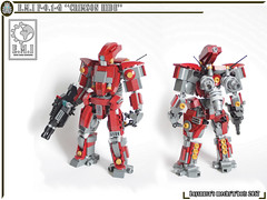 "E.M.I F-0.1-G ""CRIMSON HIDE"" (Loysnuva) Tags: lego mech moc system ground military earth industries crimson hide mecha robot original loysnuva bionifigs"