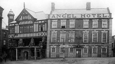 Angel Hotel, 18 High Street & Imperial Buildings, 20-22 High Street (during Bull Ring reconstruction), 1922