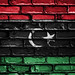 National Flag of Libya on a Brick Wall