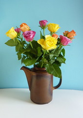Roses in a Coffee Pot (jkw_fire_horse) Tags: stilllife roses colourful colorful coffeepot skyblue yellow pink orange green ocawork