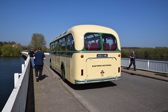 The rear view, Bristol MW6G, Reg 7017 HK, owned by Ensign Bus Co, seen here on the Causeway, at Tattingstone Reservoir, Suffolk. Ipswich Bus Running Day. 09 04 2017 (pnb511) Tags: running day operating road ipswichtransportmuseum ipswichcorporationtransport suffolk bus water bridge causeway 7017hk bristol