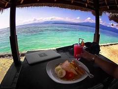 Breakfast and work at Gili Air Island, Indonesia /// (VINJABOND.COM) Tags: beach paradise wanderlust gili island breakfast food indonesia bali hedonism bungalow hostel backpacking nomad