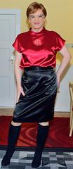 Birgit023920 (Birgit Bach) Tags: skirt rock top satin boots stiefel