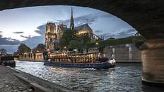 Parisian night (Ludo_Jacobs) Tags: paris boat seine notredame france night bluehour bridge river city