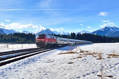 DB BR218 491-9 met IC2012 te Langenwang, 22-02-17 (Daniël de Ruig) Tags: allgäu deutschland deutschebahn br218 db ic baureihe schnee sneeuw intercity alpen bergen langenwang oberstdorf train zug trein winter