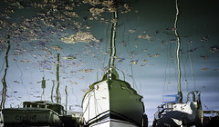 Cyrene (real ramona) Tags: boat yacht reflection weeds water marina masts ripples portishead