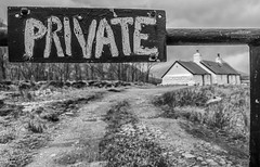 Private! (handmiles) Tags: mono monochrome blackandwhite bw glencoe scotland sign cottage house outdoor outside out rural private sony sonya77mark2 sonya77m2 sigma sigma1020mm wideangle mileshandphotography2017