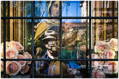 Rome, 2017 (Exit Imago) Tags: religion virginmary reflection flower roma italy aedicula streetphotography ~religiousfigures lazio rome