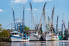 Double parked at the shrimp dock. (GDMetzler) Tags: dariengeorgia georgia boats shrimpboats river water clouds reflections spring sunny dock nikon d610 gdmetzler fishing