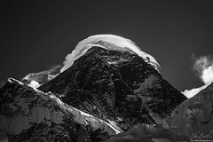 Storm On Everest Summit (owenweberlive) Tags: nepal everest basecamp tengboche dingboche himalayas himalaya mountains hiking hikers landscape landscapes earth nature mount mt asia asian travel vacation trek trekking nacho bazar bazaar climb climbing storm blackwhite