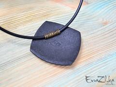 "Pendant ""Lines"" square (EvraZhka Studio) Tags: polymerclay polymer clay jewelry jewellery pendant necklace line lines color bordo black strict stripes stripe shine brilliance square"
