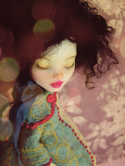 Evelyn (thehaberdashingshoppe) Tags: art monster lady miniature high artwork doll dolls handmade embroidery ooak sewing frankie custom stein articulated petite whimsical dainty glamorous repaint