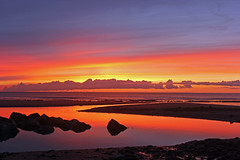 Last shot of the day... (John Ibbotson (catching up!)) Tags: sunset sea sun reflection beach water silhouette wales clouds coast colours coastal ceredigion borth