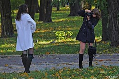 Posing in the Park (t-maker) Tags: park street camera city autumn shadow portrait urban woman tree green bird fall public girl beautiful beauty grass leaves lady female pose bag relax photography town leaf bush model peace place legs pigeon dove candid coat leg lawn young relaxing streetphotography documentary posing peaceful social ukraine human environment greenery rest cloak recreation emotional knees activity shrub knee situation ukrainian kiev miniskirt kyiv hdr photographing shrubbery spontaneous prosaic streetphotograph