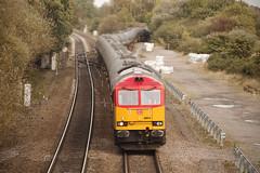60011 Stenson Junction 09/10/2014 (Flash_3939) Tags: uk red train october diesel rail railway oil locomotive freight 60 tanks dbs 2014 jn class60 railfreight dbschenker 60011 stensonjunction