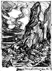 Torqued Pinnacle With Harvest Moon (September) (Kerry Niemann) Tags: september inkdrawing pinnacle superstitionmountain