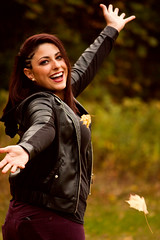 Amanda. (JillianHope) Tags: autumn girls portrait cute fall halloween girl field fashion laughing canon photography october scenery warm tattoos digitalrebel alternative xsi