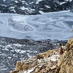 @sethtmartin scoping out the frozen #timberlinelake on the decent from #buck mountain #gtnp #grandteton #jacksonhole #tetons (Jeff Bernhard) Tags: square jackson squareformat wyoming teton grandteton jacksonhole grandtetonnationalpark gtnp iphoneography instagramapp uploaded:by=instagram