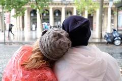 It must be love (The Green Album) Tags: street people woman man paris love rain cafe couple hats romantic coats macs bobble woollen