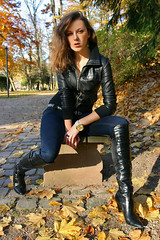 Lena 05 (The Booted Cat) Tags: sexy girl leather model highheels boots jeans heels tight russian
